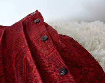 Red, Above the Ankle, Paisley, Side-Button, Pleated Skirt