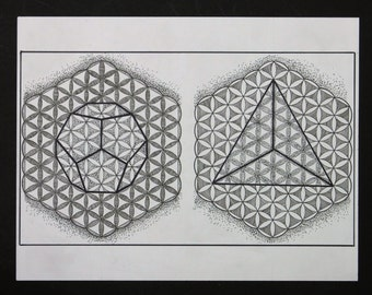 Platonic Solids/ Sacred Geometry/ Black and White