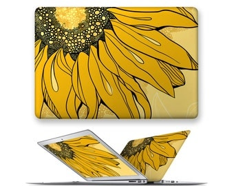 macbook air hard case rubberized front hard cover for apple mac macbook air pro touch bar 11 12 13 15 sunflower
