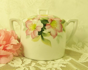 Noritake Hand Painted Azalea Sugar Bowl,  Pink Flowers,Green & Yellow Leaves,Cottage Chic creamer,Floral moriage painted porcelain container