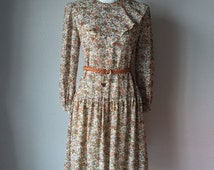 1970s, 1980s, floral dress, Chiffon Dress, vintage dress, dress, casual dress,