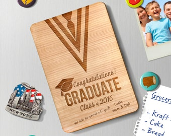 Personalized Graduation Wood Greeting Card FRIDGE MAGNET 4X6 wedding valintines day wood laser cut GCFM0003