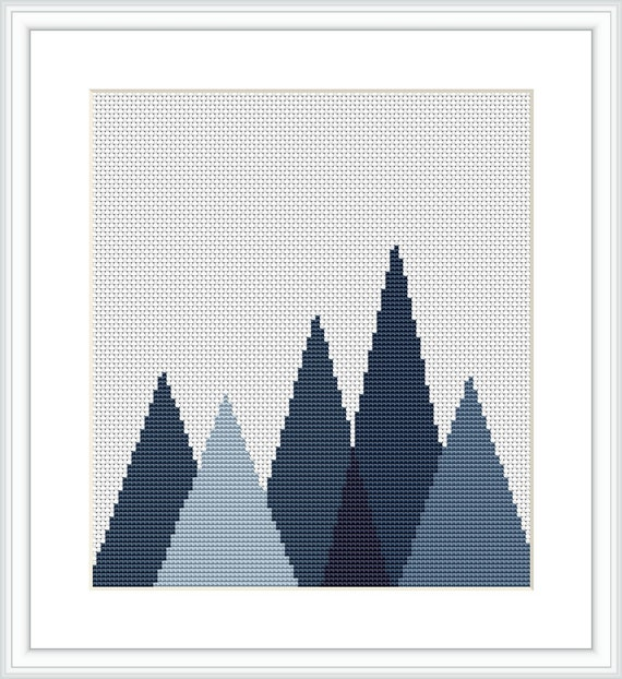 Forest cross stitch pattern geometric mountains