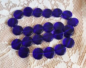 Stunning cobalt blue Czech Glass beads coin shape 13mm by 4-1/2mm transparent