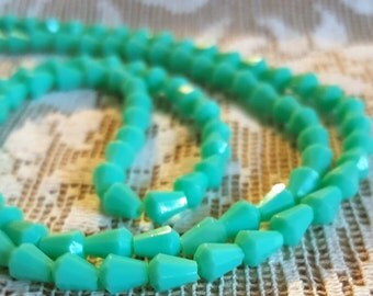 Vintage Lucite beads West German Turquoise faceted cone bell shape loose beads