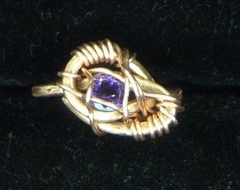 Amethyst Copper Wrap Ring (size 5.5)