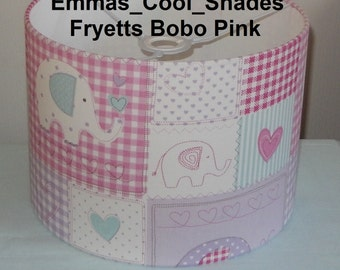 Handmade Lampshade - Fryetts Bobo Pink Fabric - Drum Bespoke British Pink Nursery Baby Boy Girl Bedroom elephants
