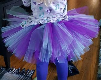 purple and aqua 3 layer tutu handmade