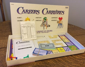 Careers/Carrieres English and French Vintage Board Game 1980s  The Choice is Yours! You need to make money Family Game Fun Retro Games