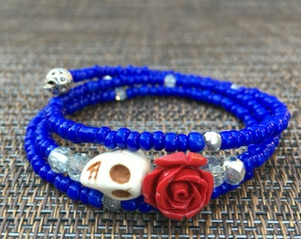 Day of the Dead Beaded Bangle Bracelet, Dia de los muertos, mexican holiday the Dead Beaded Bangle Bracelet, red rose with cobalt blue