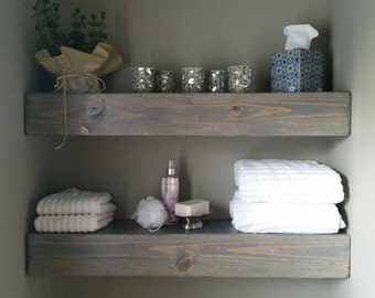 Shipping included - Floating Wood Shelves for Bathroom
