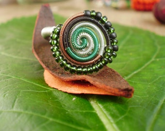 Spiral wire wrapped ring, colorful ring, hippie ring, beaded ring, unique ring