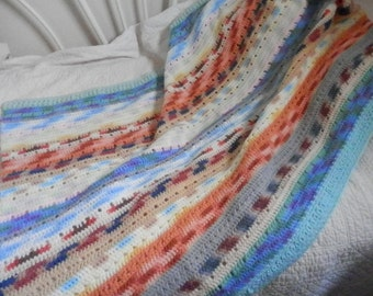 Crocheted multi colored lap throw