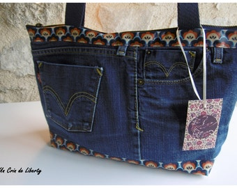 handbag recycled jean, coated canvas and linen