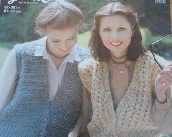 Original vintage knitting pattern by Jaeger for 2 ladies waistcoats
