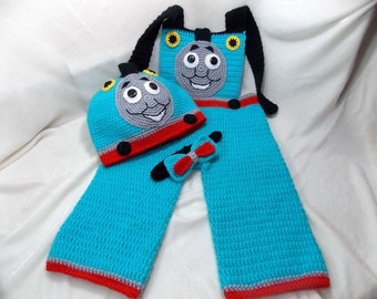 Thomas- train,hat Thomas-train, crochet bow tie,Costume photo shoot,baby boys'clothing,overalls Thomas-train,