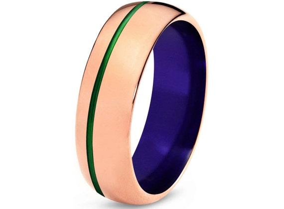 Tungsten Ring Mens Green Purple Wedding Band Ring By Xavierray