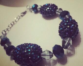 Blue bracelet, beautiful blue chunky bracelet, chunky bracelet, blue beaded bracelet, statement piece, statement jewelry, glass/acrylic bead