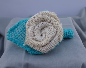 Cream Burlap Flower Boutonniere with Teal Wrap Around