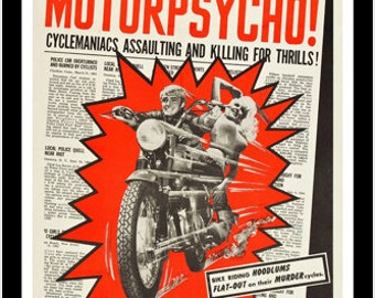 Cult Director Russ Meyer's Motorpsycho Movie Poster Bold Crazy Fun 24x36