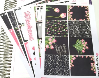 Ophelia Erin Condren Planner Stickers Weekly stickers Kit Pink Tulips glossy or matte stickers