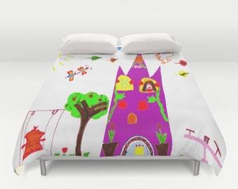 Fairy Castle duvet/ fairy duvet/ castle duvet/princess duvet/kids decor/pop art kids painting/painting by kids/colorful duvet/ castle kids