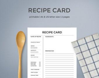 Recipe Cards | Printable Recipe Card Template Recipe Sheet Printable Recipe Card Letter Size Recipe Template Recipe Book Recipe Binder Pages