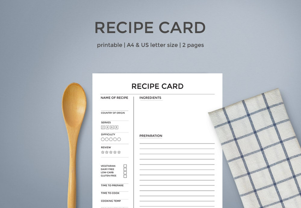 recipe sheet templates