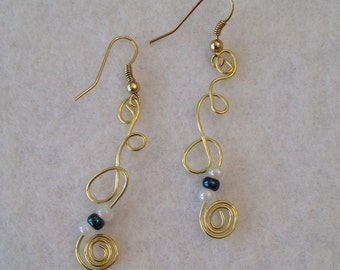 Gold tone squiggle earrings