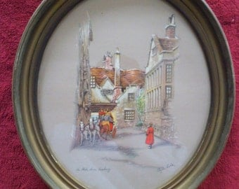 The Globe Inn Banbury - Oval Lithograph Signed by Clyde Cole 1940's Antique