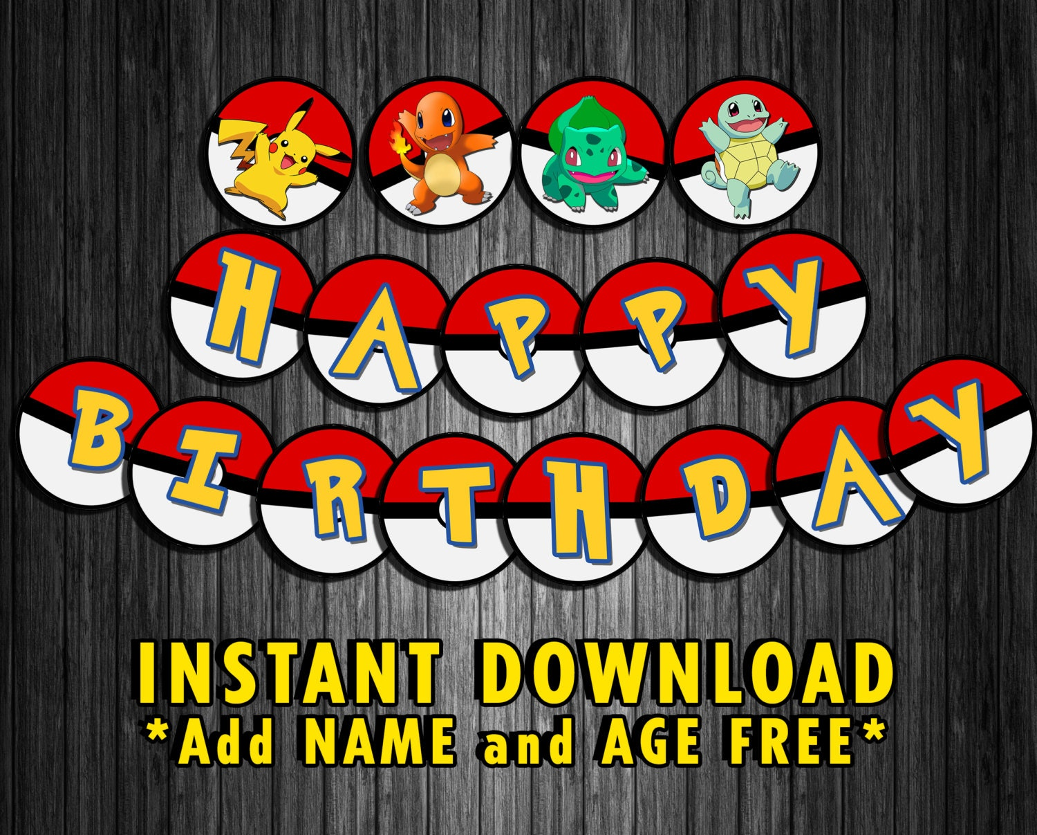 Pokemon Inspired Birthday Party Banner Decoration by ...