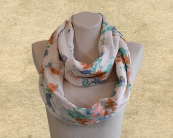 Infinirty scarves, Women's circle scarf, Fabric scarf women, Flower print acarf, Circle loop scarves, Wide scarf infinity, Lightweight scarf