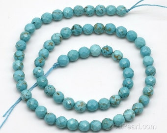 Turquoise beads, 6mm round faceted, gemstone beads, natural gemstone beads, loose beads, gem strand jewelry beads for necklace, TQS1020