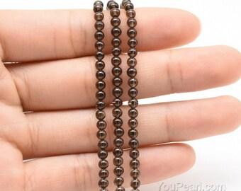 Smoky quartz beads, 3mm round, natural stone beads, A grade small brown smoky quartz stone, loose gemstone round beads, SQZ2007
