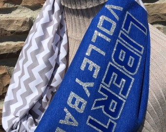 Olentangy Liberty Scarf - Infinty Upcycled T shirt Scarf - Double Loop - Olentangy Patriots - Patriots - Olentangy - Liberty - Volleyball
