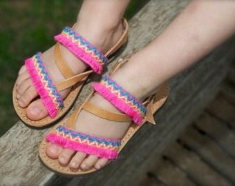 Girls Sandals,Kids Sandals,Pink Boho Sandals,Baby Greek Leather,Toddler Sandals,Girls Sandals,Handmade Sandals for Kids,Boho Sandals