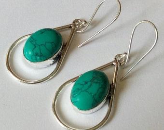Elegant & Inspiring Earrings #313, Turquiose, Glamour, Weddings, Feminine Modern Jewelry, Intricate Design, Silver, Dangle, Drop