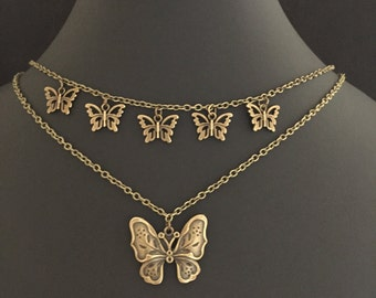 Dragonly, Butterfly, Layered Charm Necklace