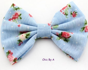 """Light Blue Hair Bow,Blue,Beige,5"""" Floral,Chic,European,Floral Printed Cotton Bow,Vintage Floral Hair Bow,Bow Tie,Baby,Girls,Toddler"""