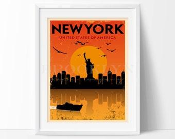 New York Print, New York City Vintage Travel Poster, City Illustration, City Poster, Retro Poster, Vintage Travel Print, Not Framed