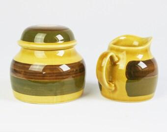 Stavangerflint milk and sugar jar, scandinavian design, Honey pattern, Designer Nils Aaarrestad Siversten