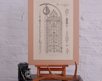 Vintage French Architectural drawing large fine art print. Beautiful high quality image.