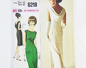 60s Evening Dress Pattern | Simplicity 6218 Dress in 2 Lengths | 60s Sewing Pattern