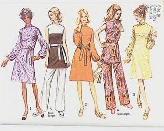 70s Tunic Dress Pattern   Simplicity 9125 Misses Dress & Pants Pattern   70s Sewing Pattern