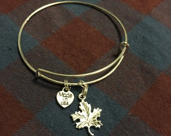 Maple Leaf Bangle Bracelet