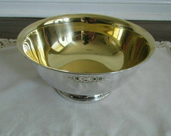 Neiman Marcus Pedestal Bowl  Silverplare With Gold Wash Inside