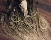 FAUN Synthetic DREADS/dreadlocks transitional color from brown to blonde x10 or full set double or single ended hair extension