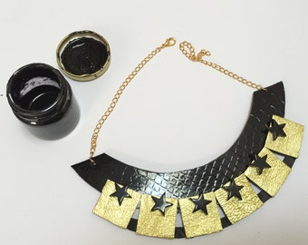 Leather necklace with black & gold
