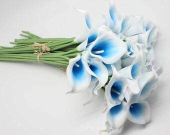 calla lily bouquet Real Touch blue Calla Lillies for bridal bouquets, 10pcs= 1 set