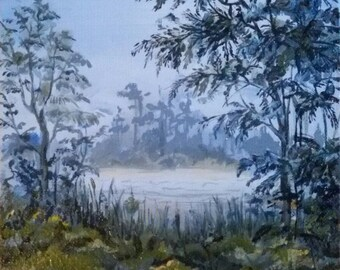 Landscape painting Nature Oil Painting Miniature Gift 18 * 18 cm Trees Forest River.